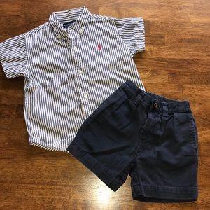 Ralph Lauren Striped Oxford Shirt & Chino Shorts